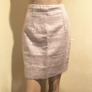 Nicole Miller Tan Linen Pencil Skirt with Sequins